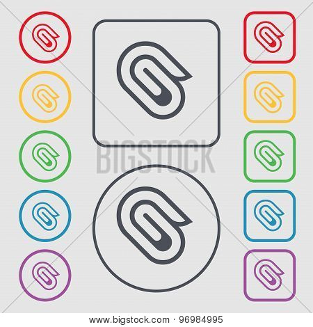 Paper Clip Icon Sign. Symbol On The Round And Square Buttons With Frame. Vector