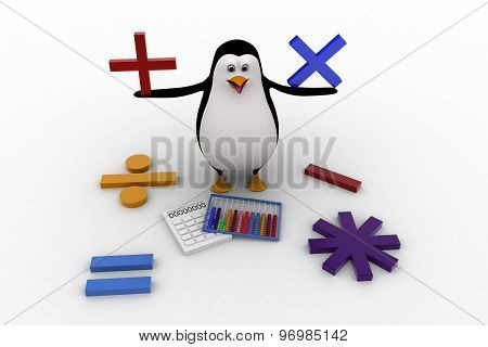 3D Penguin With All Mathematical Symbols And Calculator Concept