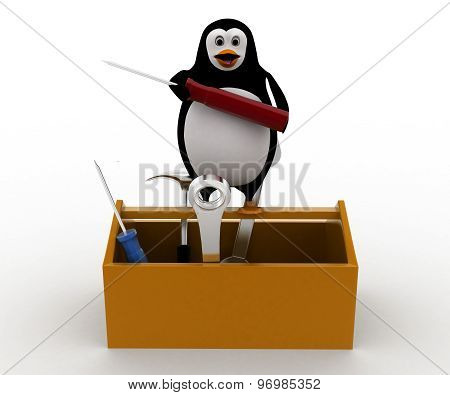 3D Penguin With Mechanical Toolbox Concept