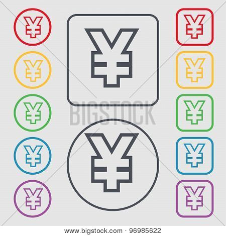Yen Jpy Icon Sign. Symbol On The Round And Square Buttons With Frame. Vector