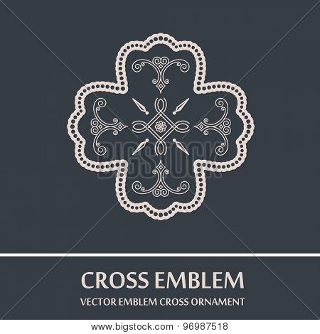 Vector emblem cross ornament. Vintage design elements