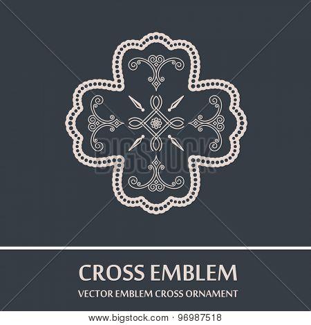 Vector emblem cross ornament. Vintage design elements