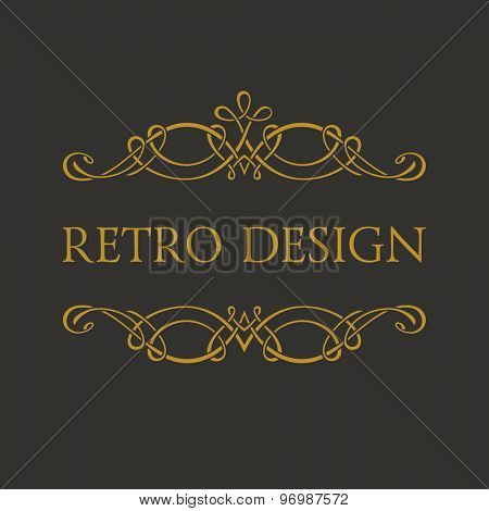 Calligraphic Retro design logo. Emblem ornate decor elements. Vintage vector symbol ornament