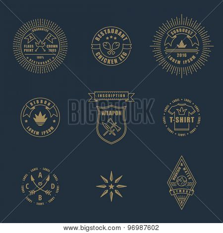 Set of linear thin line art deco retro vintage design elements. Stamps and vector logos for shops and restaurants