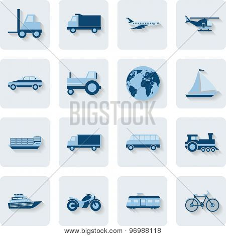 Transport Icons. Modern Web Collection Isolated on white background. Illustration. Vector EPS10.