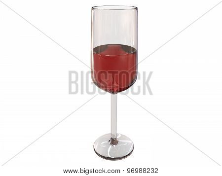 Filled Glass 3D Render On White Background