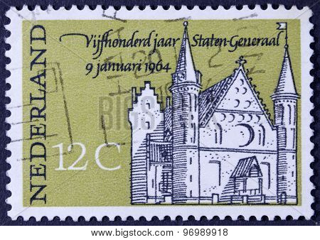 The parlement of the netherlands on a postage stamp