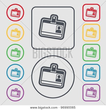 Id Card Icon Sign. Symbol On The Round And Square Buttons With Frame. Vector