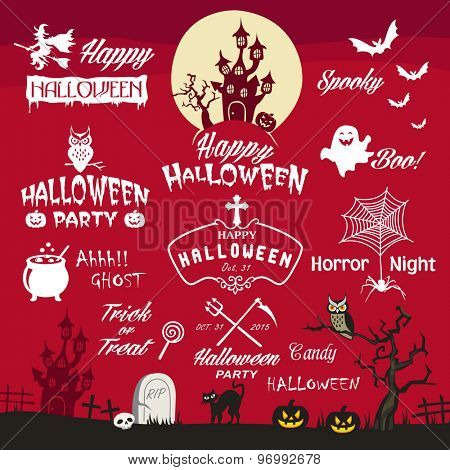Happy Halloween design elements. Halloween design elements, logos, badges, labels, icons and objects collection.