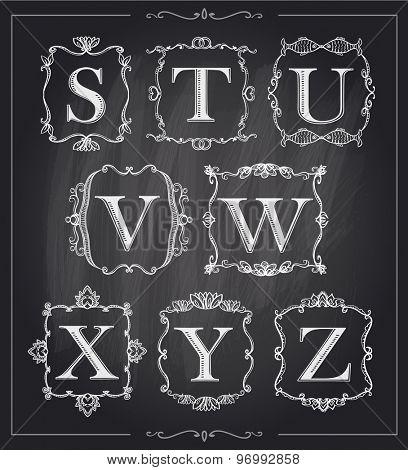 Blackboard chalk vintage calligraphic letters in monogram retro frames, alphabet logos set - S, T, U, V, W, X, Y, Z