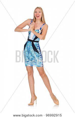 Blond hair girl in mini blue dress isolated on white