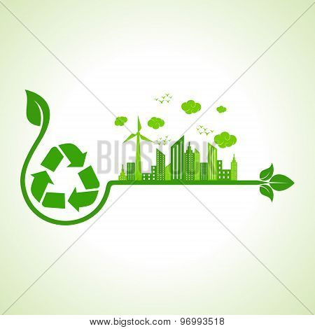 Ecology concept with recycle icon  - vector illustration
