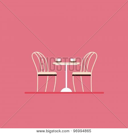 Dining table and chairs. Flat style vector