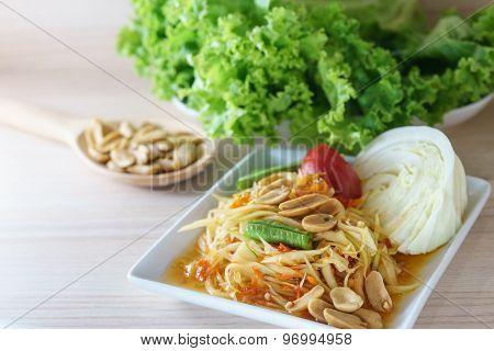 Papaya Salad Is Delicious Thai Food Call Som Tum
