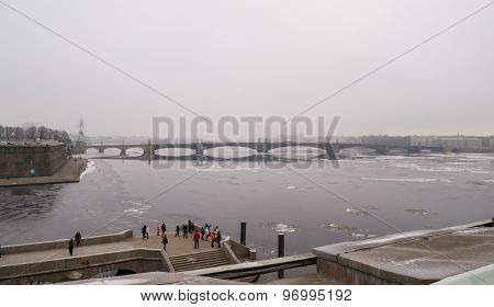 View from the Petropavloskaya fortress on Neva river and the bridge