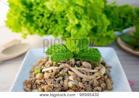 Minced Pork Salad Is Thai Food Spicy Taste