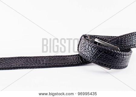Crocodile handmade belt isolate on white background.