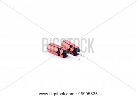 The red screwdriver isolated on white background.