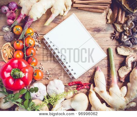Fresh Organic Vegetables And Spices On A Wooden Background And Paper For Notes.