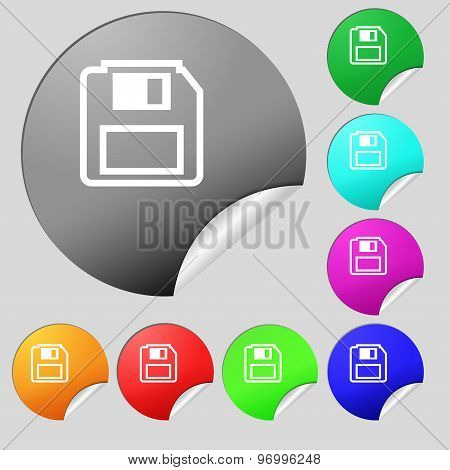 Floppy Disk Icon Sign. Set Of Eight Multi Colored Round Buttons, Stickers. Vector