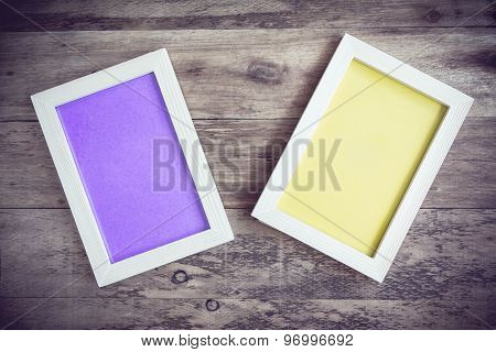 Photo Frame On Wooden Background - Vintage Style Effect Picture