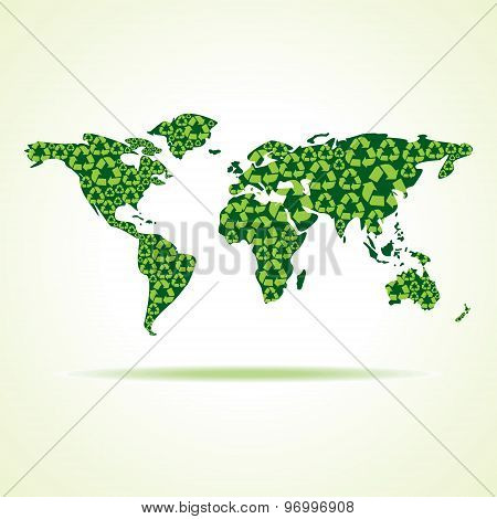 recycle icons make world map stock vector