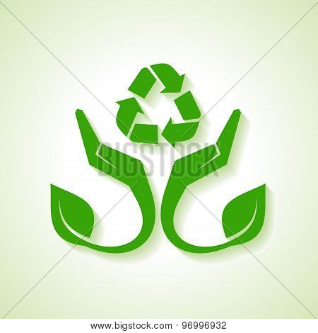 Save Nature concept with leaf and hand - vector illustration