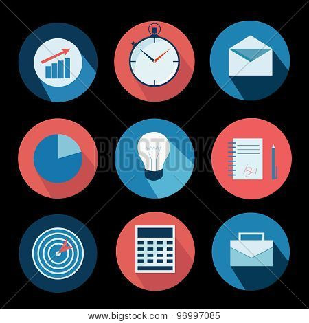 Business icons set and design elements. Vector illustration in flat style