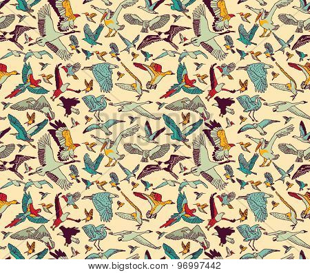 Birds seamless pattern wallpaper color