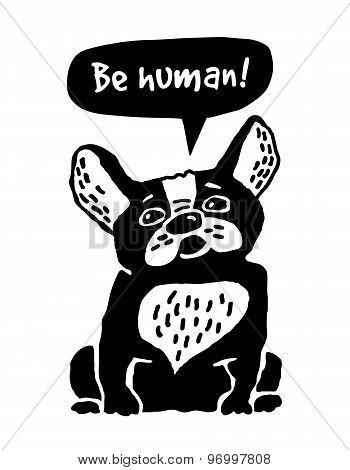 Dog French Bulldog silhouette