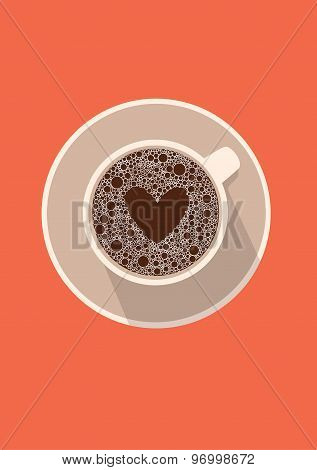Coffee cup icon with heart. Vector illustration in flat design
