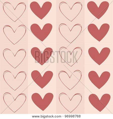 Seamless background texture, pattern with hearts