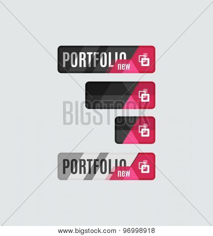 Portfolio button, futuristic hi-tech UI design. Website, mobile applications icon, online design, business