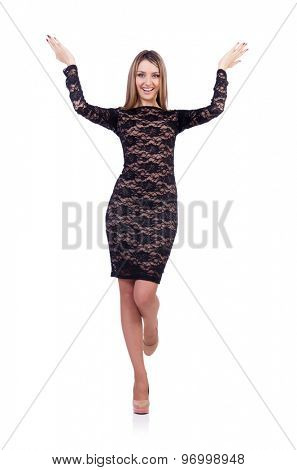 Beautiful girl in black short dress isolated on white