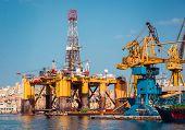 foto of offshore  - oil offshore platform in repair - JPG