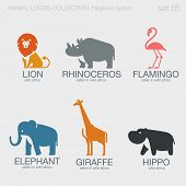Постер, плакат: Africa Safari Wild Animals Logos negative space style design vector templates Lion Rhino Flamingo