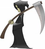 stock photo of grim-reaper  - death stand and calm wating for the moment to get some souls - JPG