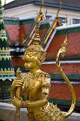Golden Statue, A Kind Of Mythological Soldier, Landmark Of Bangkok, Thailand poster