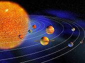 stock photo of earth mars jupiter saturn uranus  - Diagram of planets in solar system  - JPG