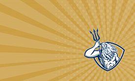 foto of poseidon  - Business card showing illustration of Roman god of sea Neptune or Poseidon of Greek mythology holding a trident set inside shield crest on isolated white background - JPG