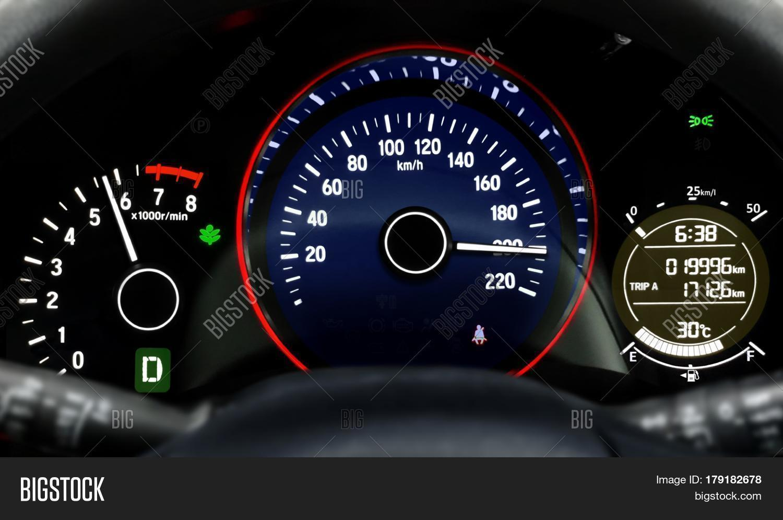 car dashboard speedometer moving image photo bigstock. Black Bedroom Furniture Sets. Home Design Ideas