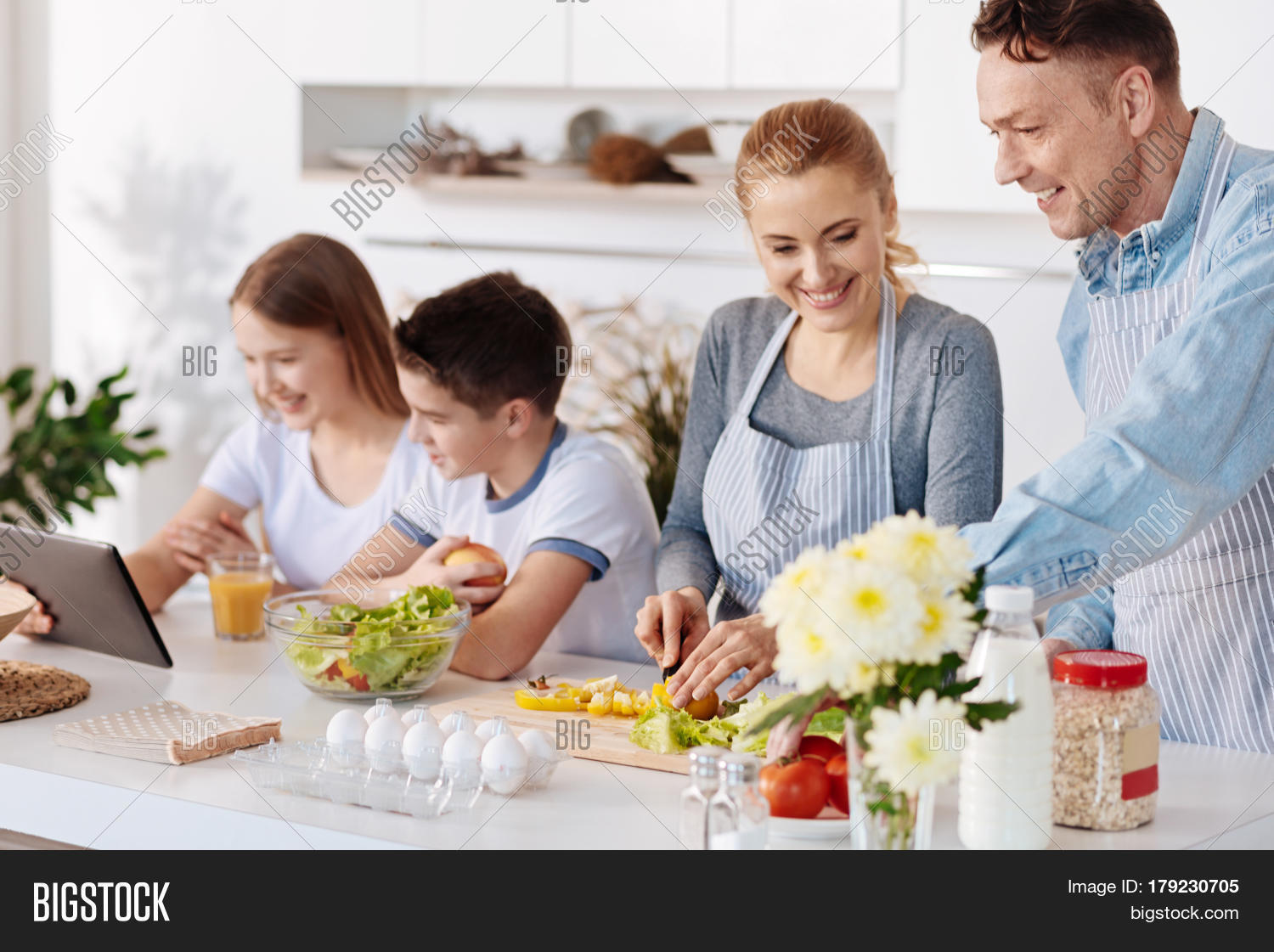 Happy Family Life Cheerful Delighted Loving Parents
