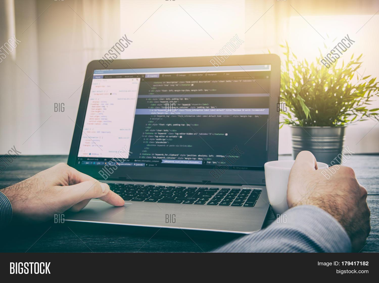 coding code program programming developer compute web development coder work design software closeup desk write workstation - Desk Design Software
