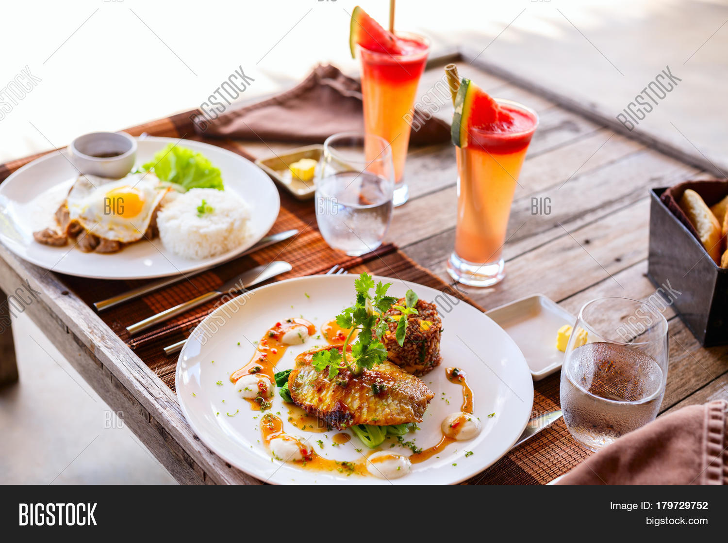 Delicious lunch two restaurant fish image photo bigstock for One fish two fish restaurant