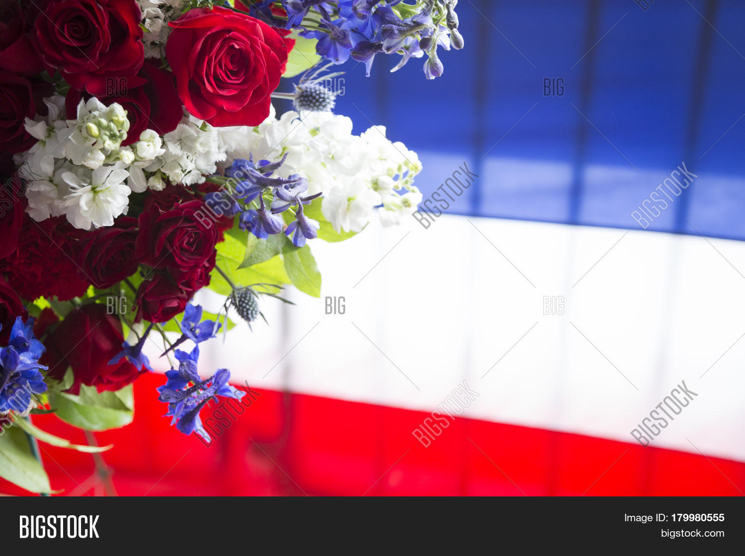 Red white blue flowers ceremonial image photo bigstock red white and blue flowers from a ceremonial wreath in honor and remembrance izmirmasajfo Gallery