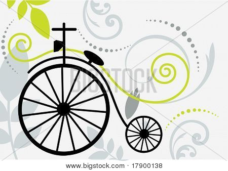 vintage two wheeled bike with flourish
