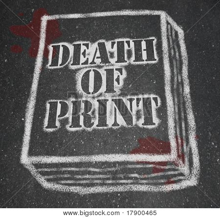 A chalk outline of a book symbolizing the death of the print industry due to the rise of new technologies like e-books and e-readers