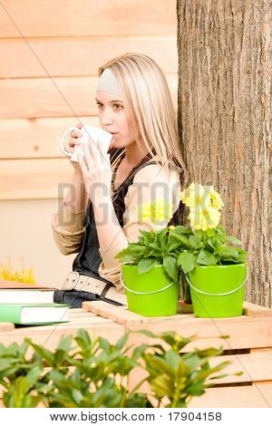Garden Woman Terrace Enjoy Cup Coffee Spring