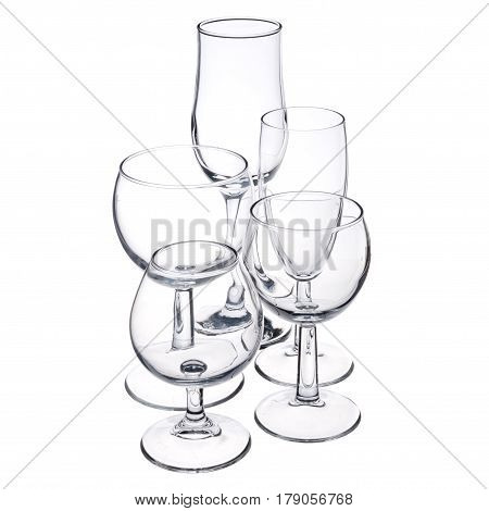 empty pure transparent glassware on white background