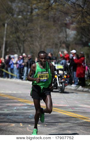 BOSTON - APRIL 18 : Geoffrey Mutai races up Heartbreak Hill during the Boston Marathon April 18, 201